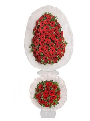 Kırmızı Gerberalar Çift Katlı Çelenk