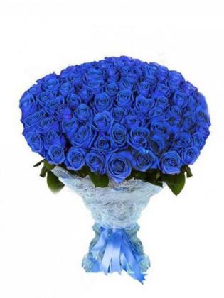 101 Adet Mavi Gül Buketi